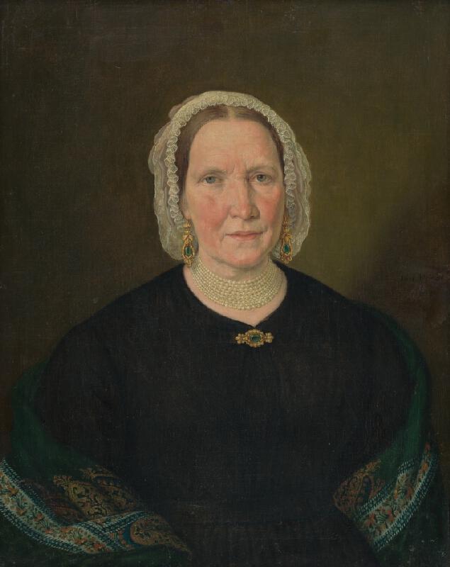 Johann Nepomuk Höfel - Portrét ženy v čiernych šatách