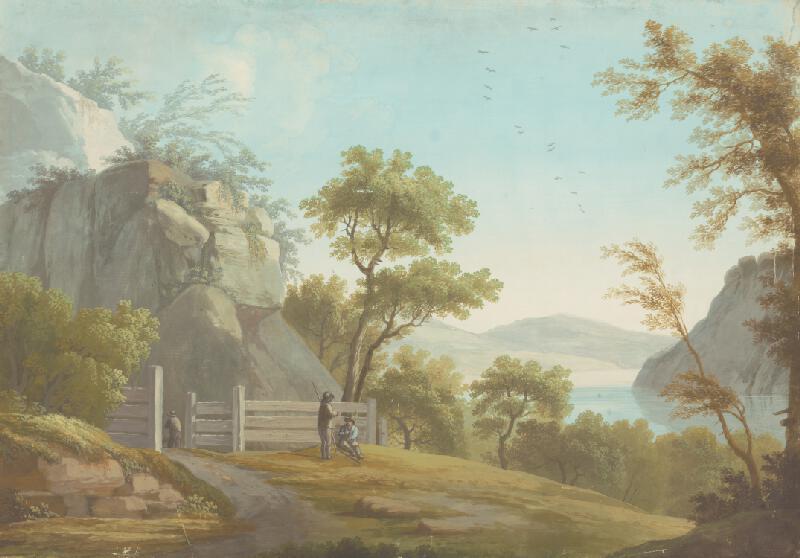 Stredoeurópsky maliar z 1. štvrtiny 19. storočia - Krajina s drevenou ohradou