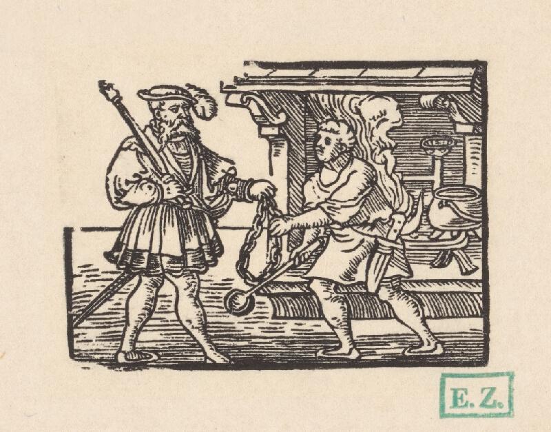 Kopisti, Hans  Brosamer - Kuchár podáva velmožovi reťaz