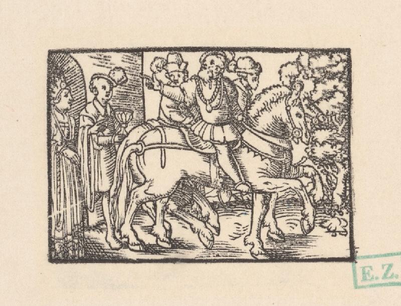 Kopisti, Hans Brosamer - Traja jazdci sa lúčia so šľachtickým párom pred hradnou bránou
