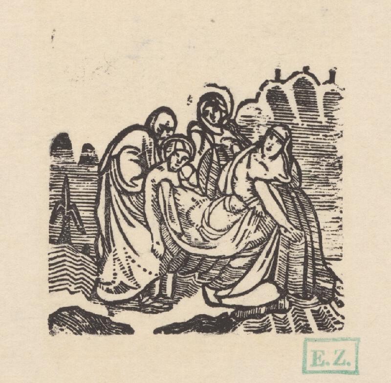 Remeselný grafik empírovej štýlovej orientácie - Ježiša pochovávajú