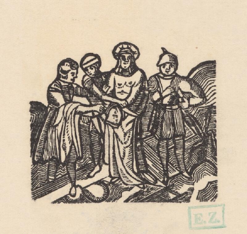 Remeselný grafik empírovej štýlovej orientácie - Ježišovi vyzliekajú šaty