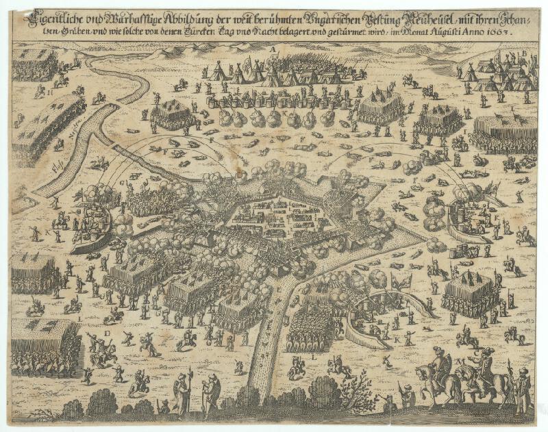 Rakúsky rytec zo 17. storočia - Obliehanie Nových Zámkov turkami v auguste r.1663