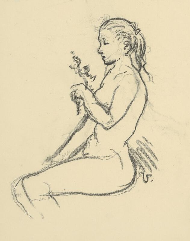 Jaroslav Vodrážka - Sediaca žena s kvetom