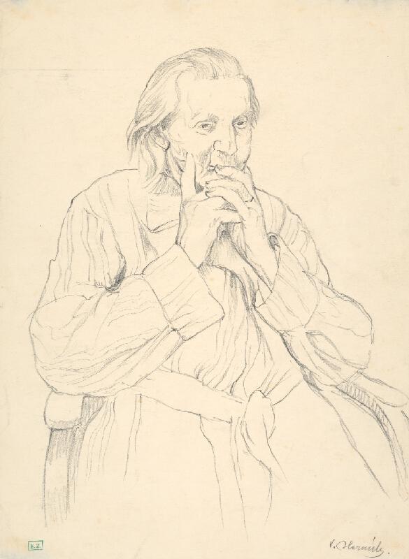 Viktor Hermély - Portrét starenky v kresle