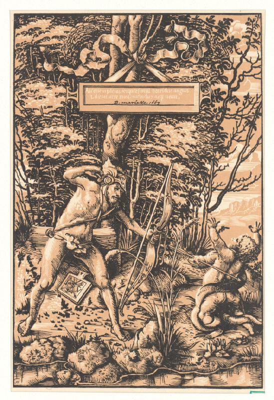 Monogramista I. V., Monogramista A. E. - Muž zabíjajúci hada škrtiaceho dieťa
