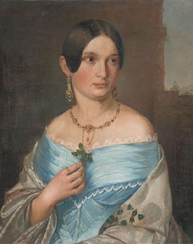 Stredoeurópsky majster - Portrét dámy s ružou