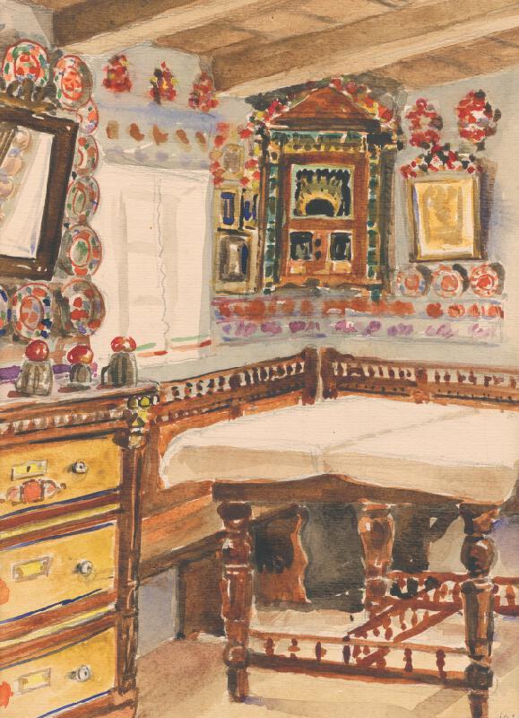 Ján Thain - Interiér sedliackého domu v Martovciach