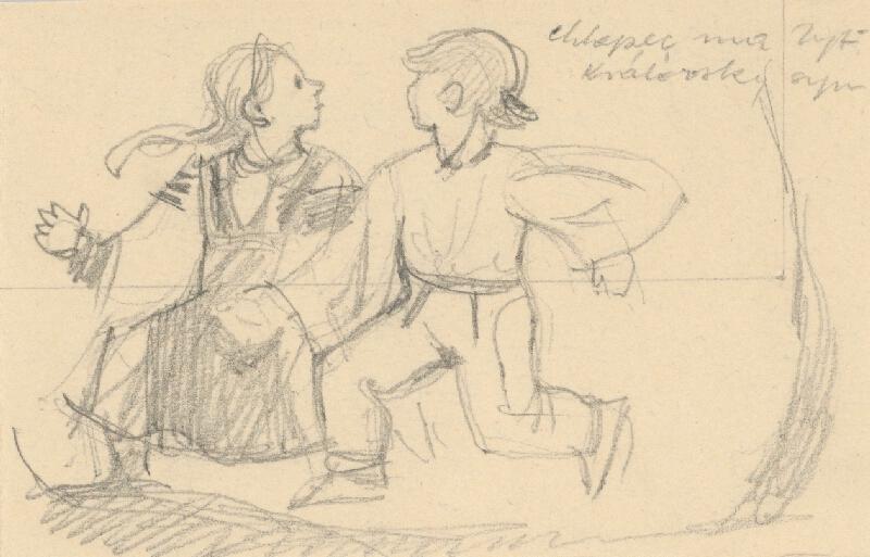 Emil Makovický – Bežiaci chlapec s dievčaťom
