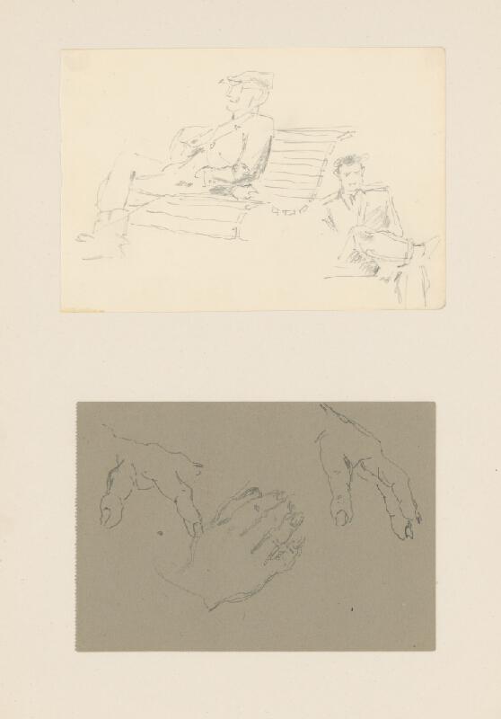 Emil Makovický - Štúdia sediaceho muža a štúdia rúk