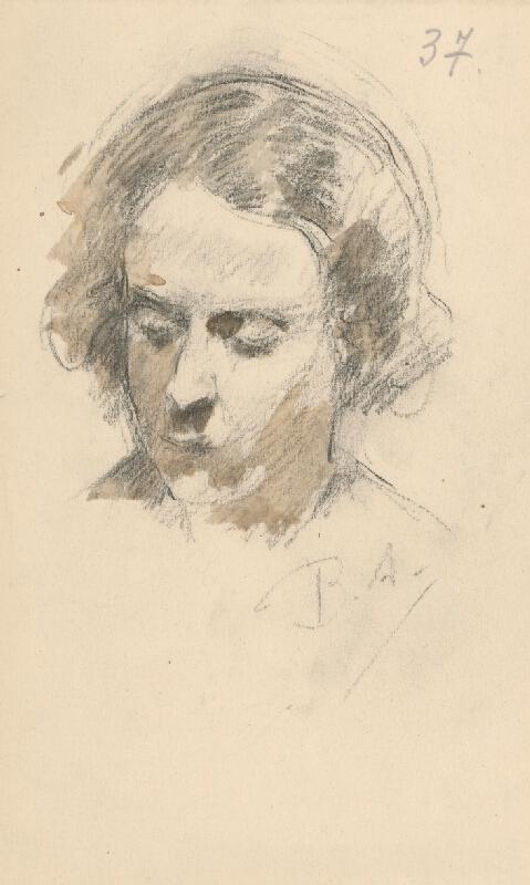 Andor Borúth - Náčrt hlavy ženy