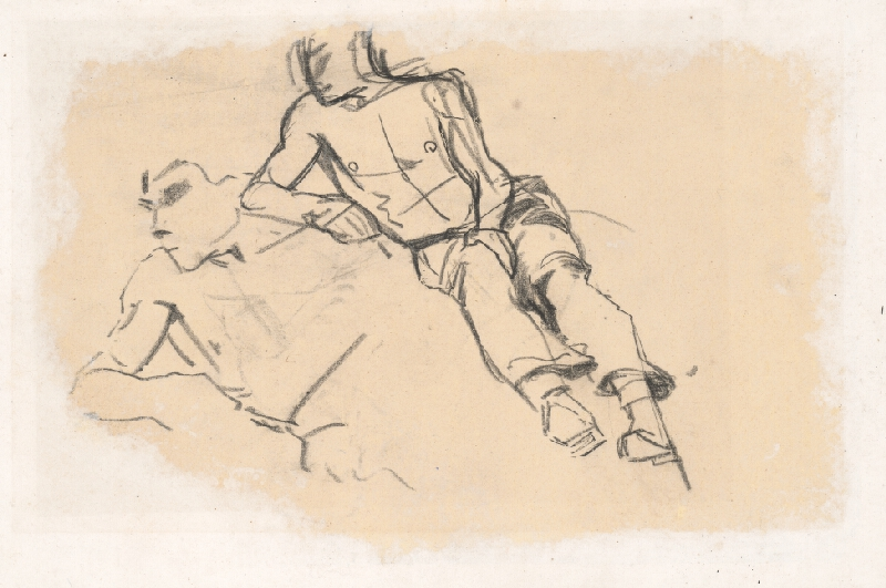 Ladislav Mednyánszky - Náčrt dvoch mužských postáv