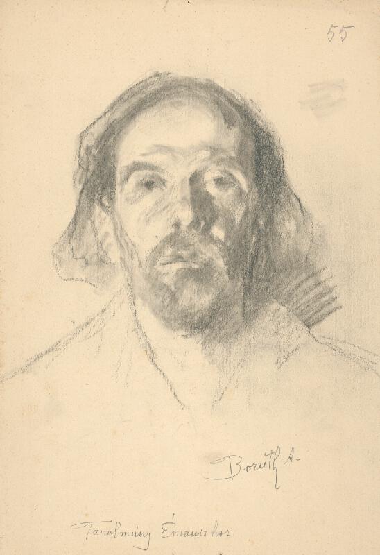 Andor Borúth - Štúdia hlavy muža - k Večeri v Emauzoch