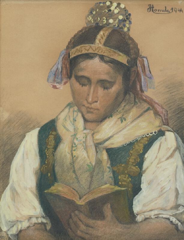 Jozef Hanula - Čítajúca v kroji
