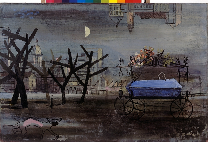 František Kaláb - Město s pohřebním vozem a kočkou