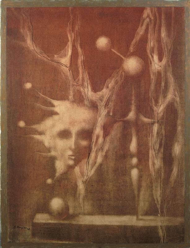 František Muzika - Zátiší s hlavou v červené (Edison)