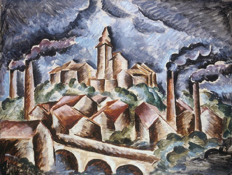 Antonín Procházka - Krajina s továrními komíny