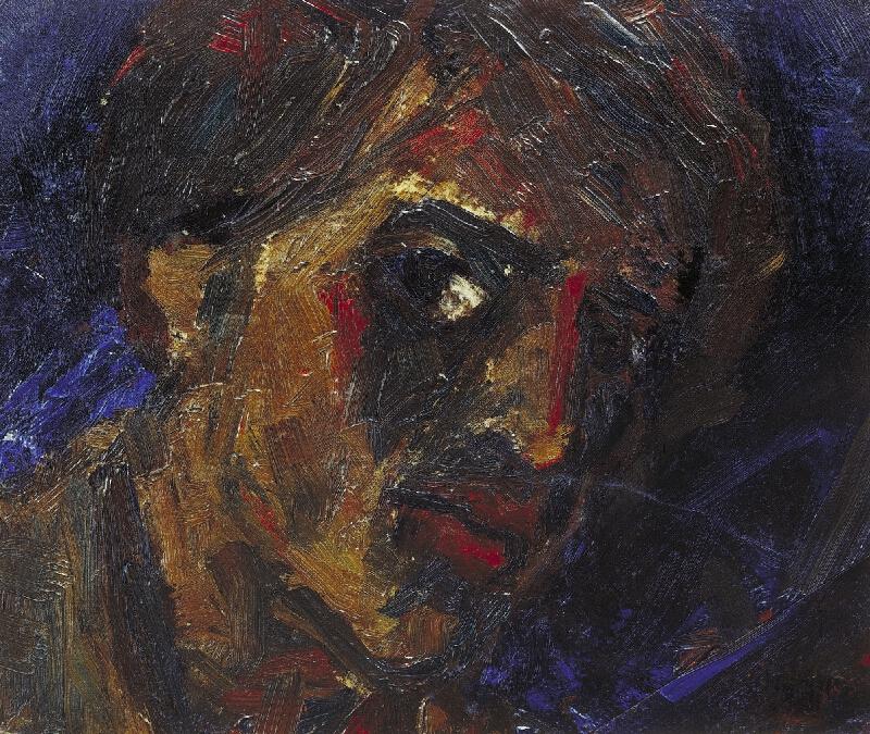 Václav Chad - Vlastní podobizna s modrým pozadím