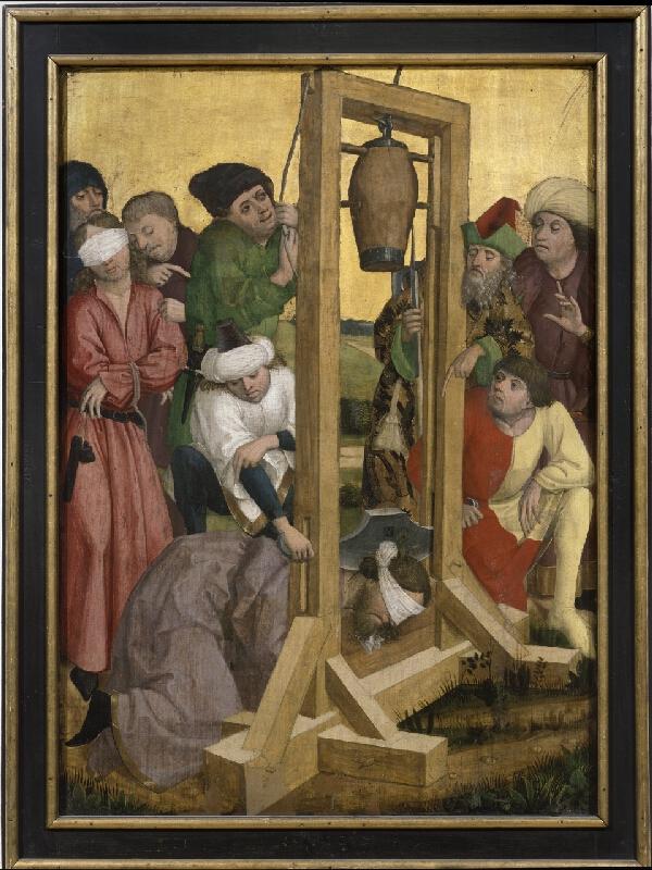 Mistr legendy sv.Osvalda - dílna nebo následovník - Stětí sv. Jakuba, revers Korunování trním