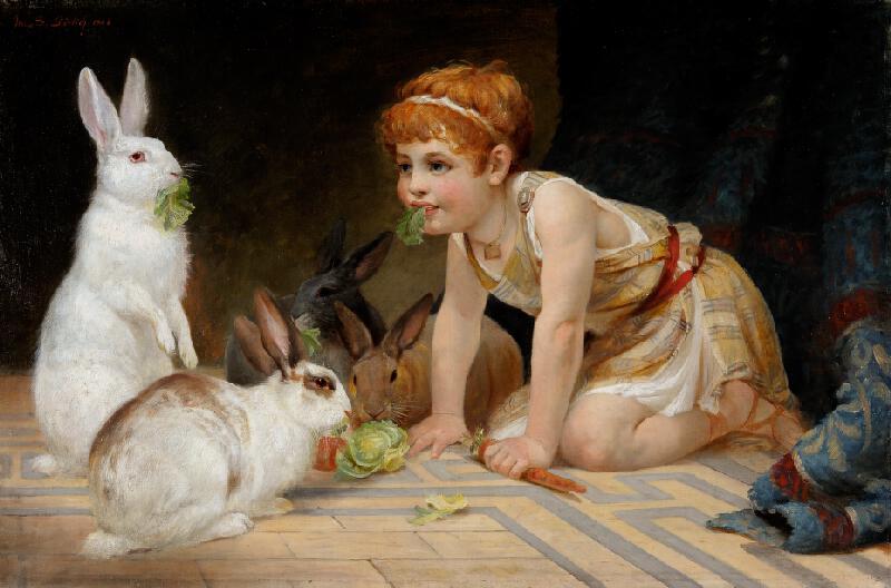 Marie Görlichová - Dítě s králíčky