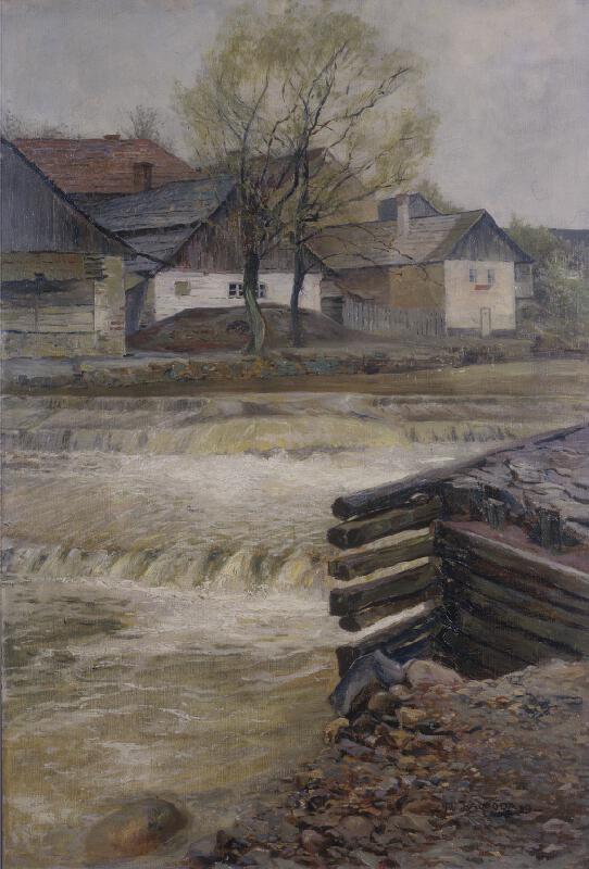 Alois Kalvoda - Splav v Lochovicích nad Litavou(Partie ze vsi Litavy)