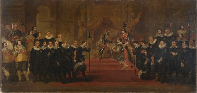 Cornelis de Vos - podle - Hold představených antverpského cechu puškařů císaři Karlu V.