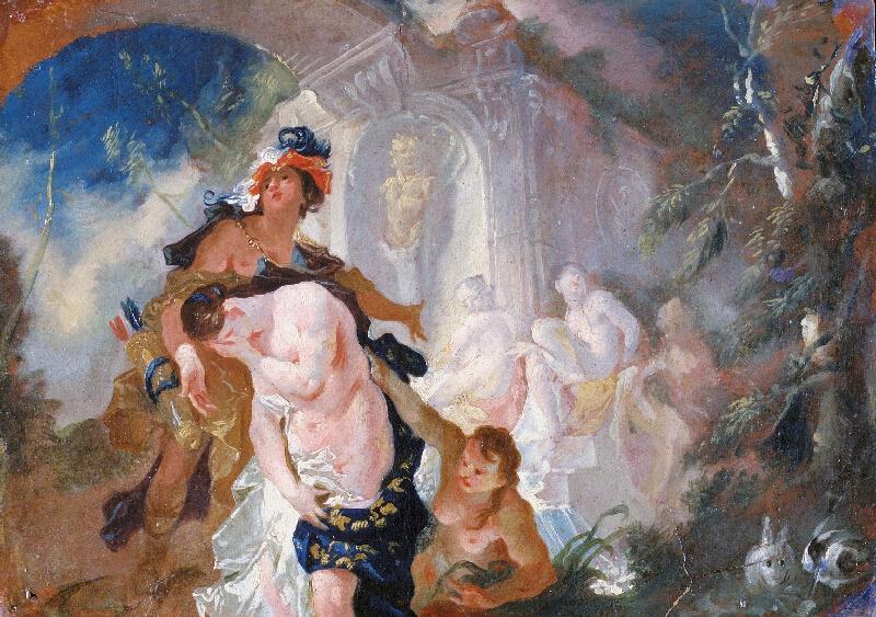 Franz Anton Maulbertsch - Diana a Callisto, revers Dvě bohyně (Ráno a Poledne)