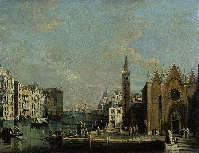 Giovanni Antonio Canal zv. Canaletto - dílna - Pohled na Canalo Grande od kostela St. Maria della Caritá k přístavu u San Marca