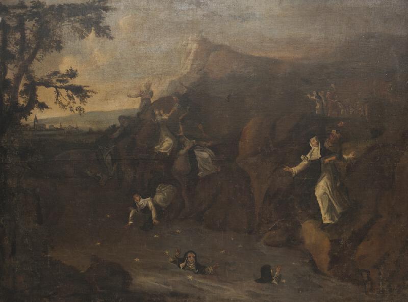 neznámý malíř moravský - Přepad jeptišek u Oslavan švédskými vojáky