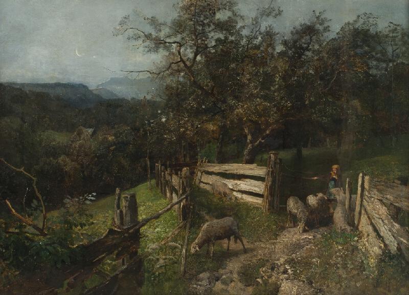Emil Jakob Schindler - Plaňkový plot u selského stavení v Goisern(Děvčátko s ovcemi,Večerní krajina)
