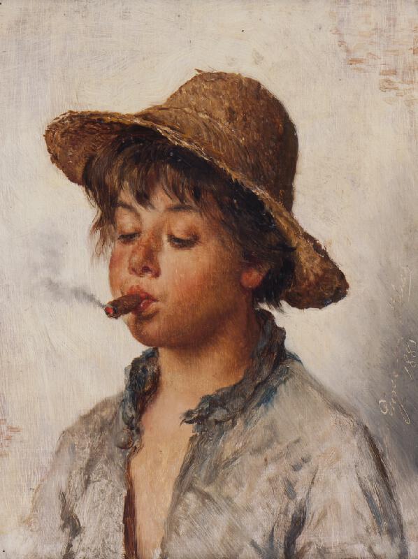 Eugen von Blaas - Malý kuřák (Kouřící savojský chlapec)