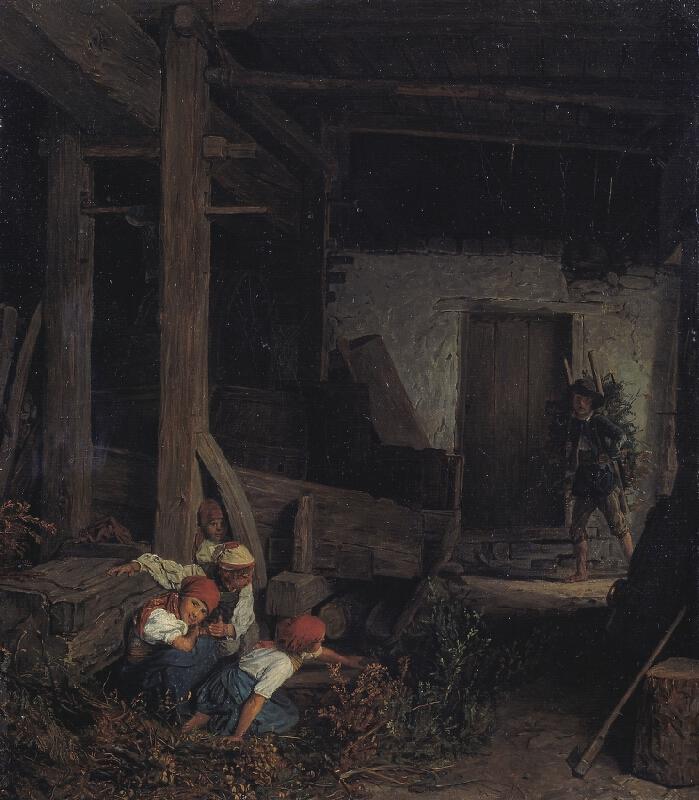 Ferdinand Georg Waldmüller - Děti ve stáji (Děti schované za vinným lisem)