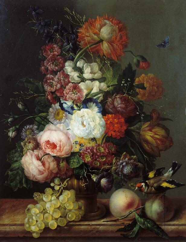 Franz Xaver Petter - Zátiší s květinami, hroznem a stehlíkem