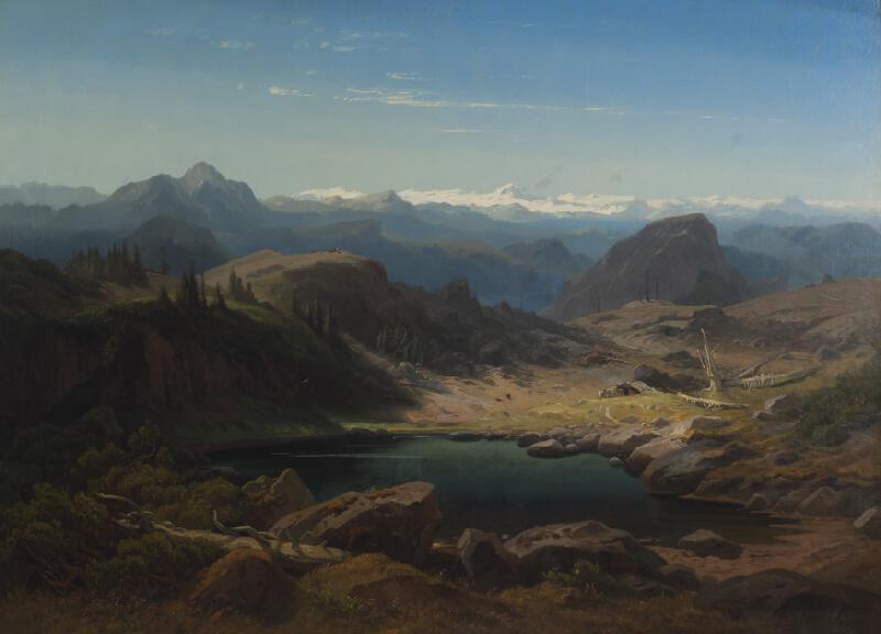 Eduard Schleich st. - Jezírko v Alpách