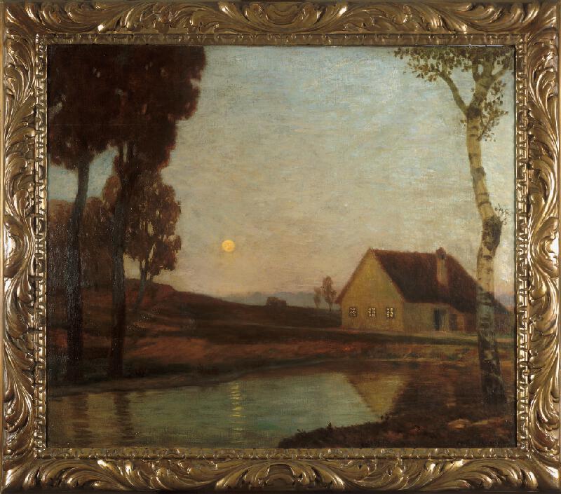 Eduard Kasparides - Krajina s řekou za měsíční noci