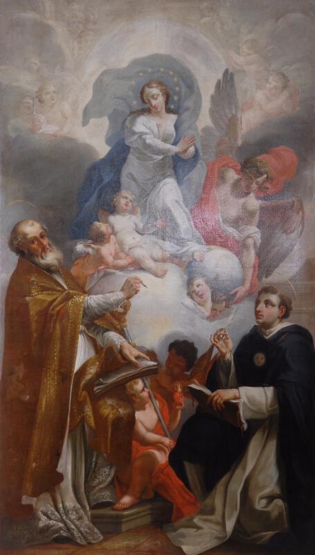neznámý malíř rakouský - Immaculata adorovaná sv. Augustinem a Tomášem Akvinským