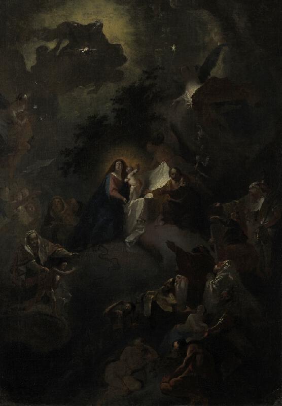 Josef Winterhalder II. (Winterhalter) - Panna Marie Vítězná - skica k freskové výzdobě části klenby klášterního kostela v Brně - Zábrdovicích