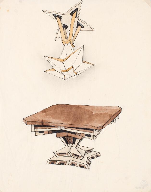 Antonín Procházka - Návrh na jídelní stůl a lustr