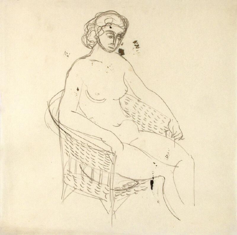 Jánuš Kubíček - Akt ženy sedící v proutěném křesle