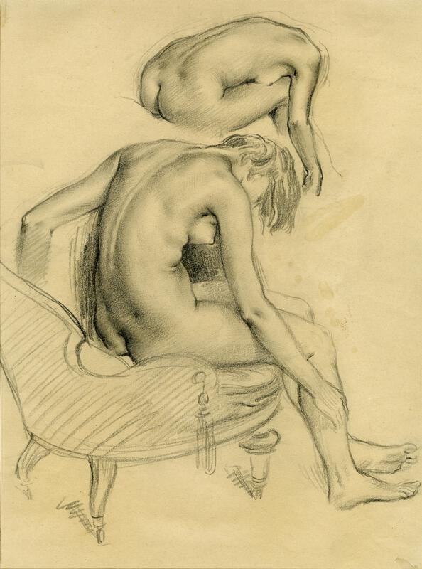 František Slíž - Studie sedícího ženského aktu