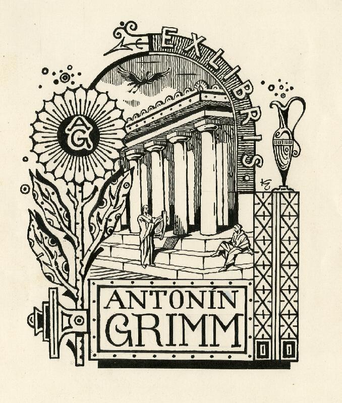 Jan Konůpek - Návrh na:   Ex libris   Antonín  Grimm