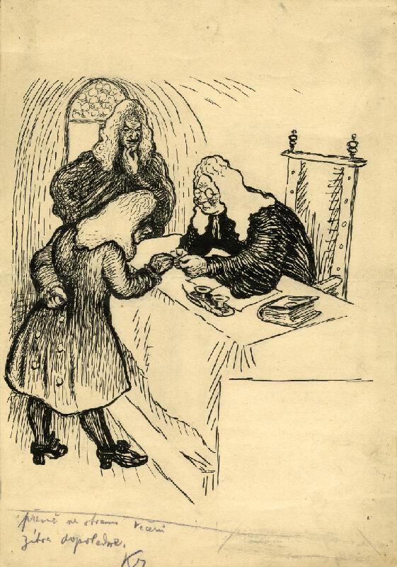 František Gellner - Satirická kresba pro Večery