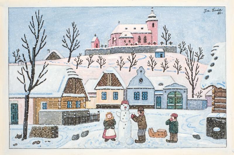 Josef Lada - Stavění sněhuláka