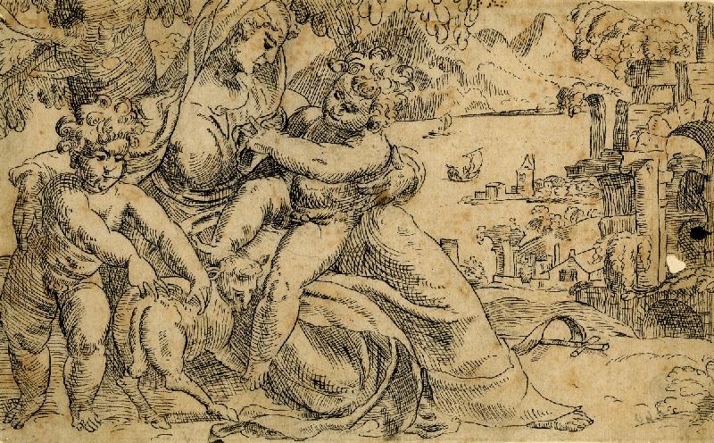 Paolo Farinato (Farinati) - podle - Madona s Ježíškem a sv. Janem Křtitelem