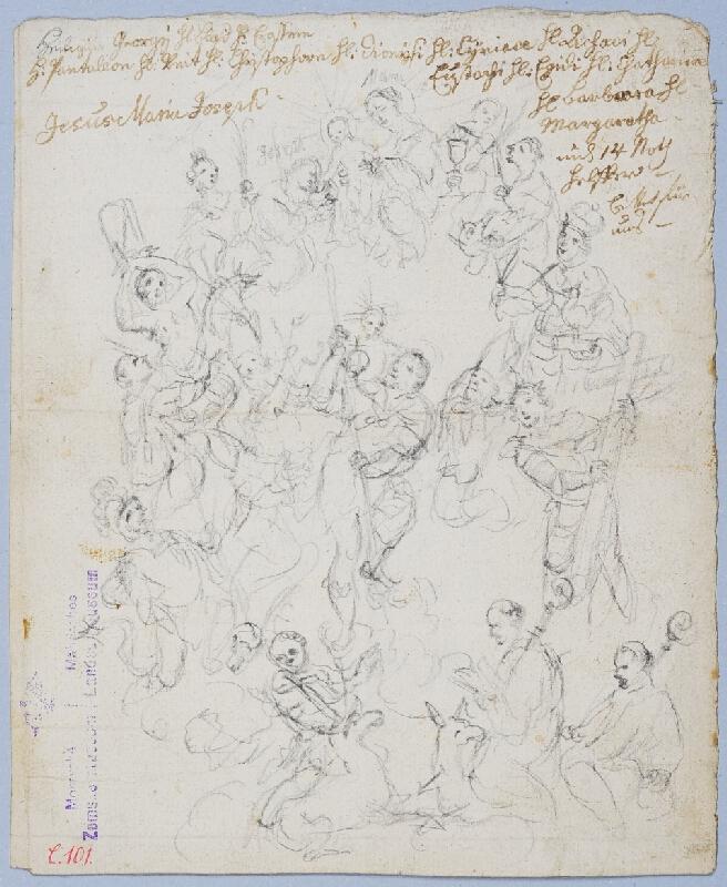 Judas Thaddeus Supper - Madona se čtrnácti pomocníky - vzadu smrt sv. Ludmily