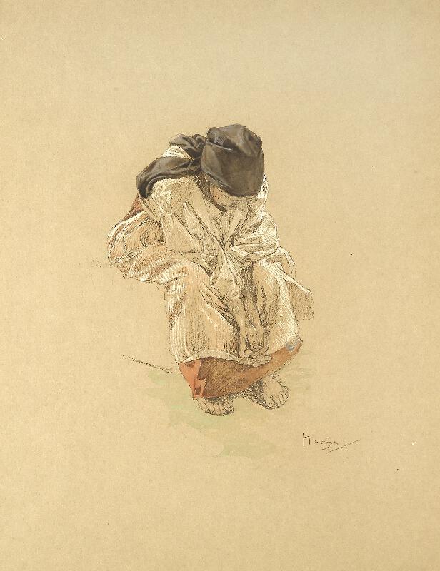 Alfons Mucha - Studie sedící ženy