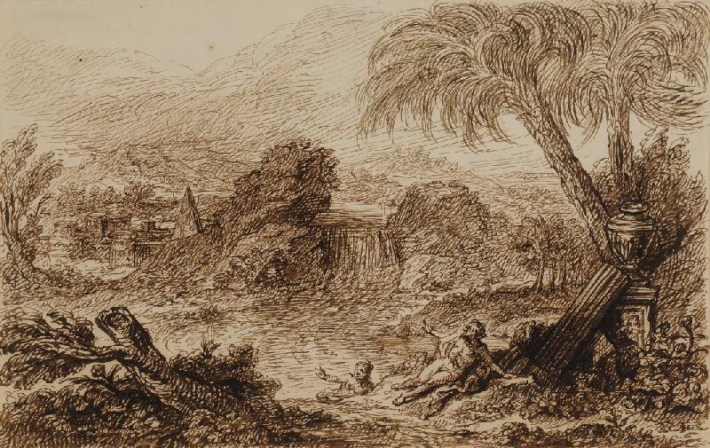 neznámý - Krajina s antickým městem a figurální stafáží