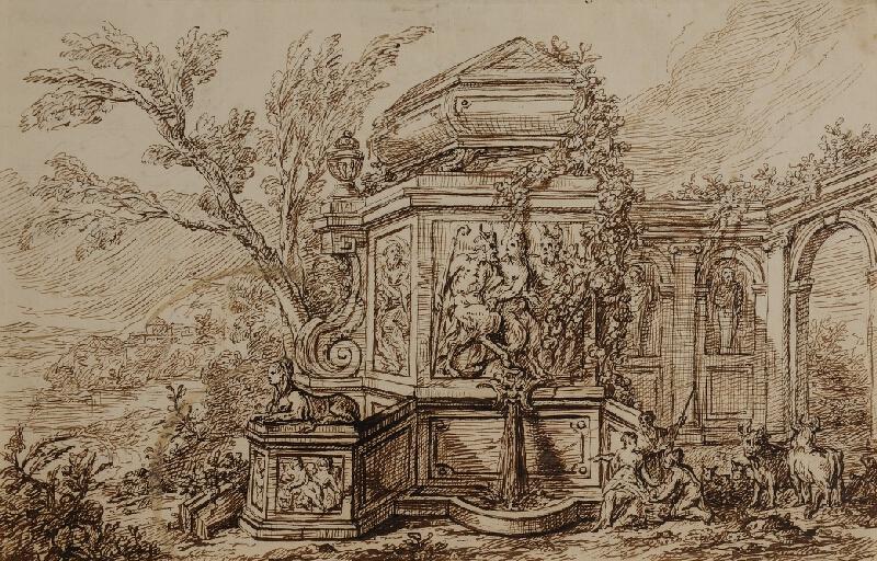 neznámý - Antický náhrobek s kašnou