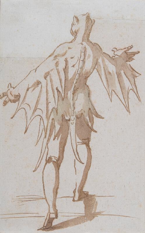 Luca Cambiaso - Návrh na divadelní kostým / démon - ze zadu