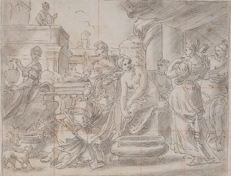 Francesco Solimena - podle - Betsabé v lázni